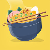 vector illustration of asian ramen noodles