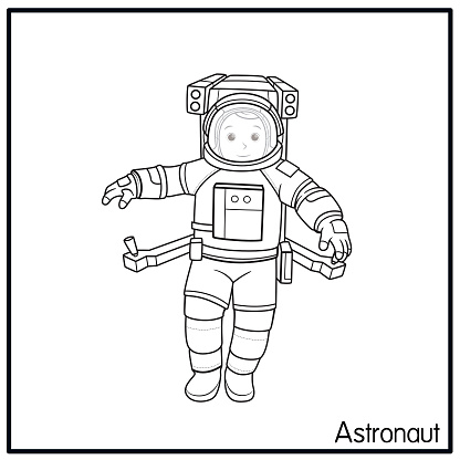 Vector illustration of astronaut isolated on white background. Jobs and occupations concept. Cartoon characters. Education and school kids coloring page, printable, activity, worksheet, flashcard.