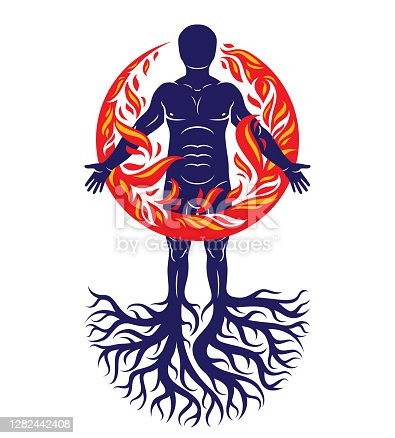 Vector illustration of athletic man composed with tree roots, fire person as bunch of the powerful energy covered with a fireball.