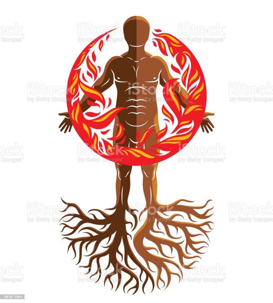 Vektör çizim Atletik Adam Ağaç Kökleri Ile Oluşan Bir Ateş Topu Ile