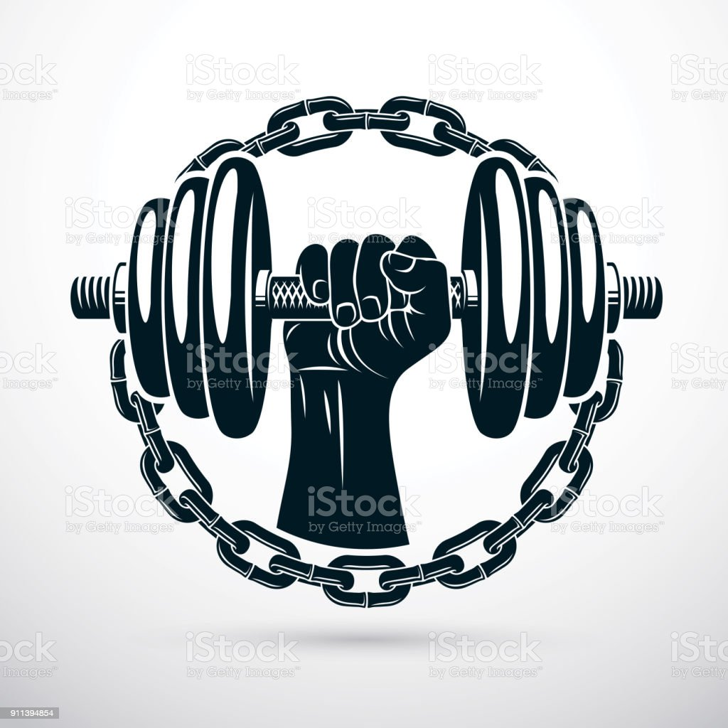 Vector illustration of athletic sportsman biceps arm holding dumbbell and surrounded by iron chain, symbol of strength and healthy lifestyle. Fitness workout. vector art illustration