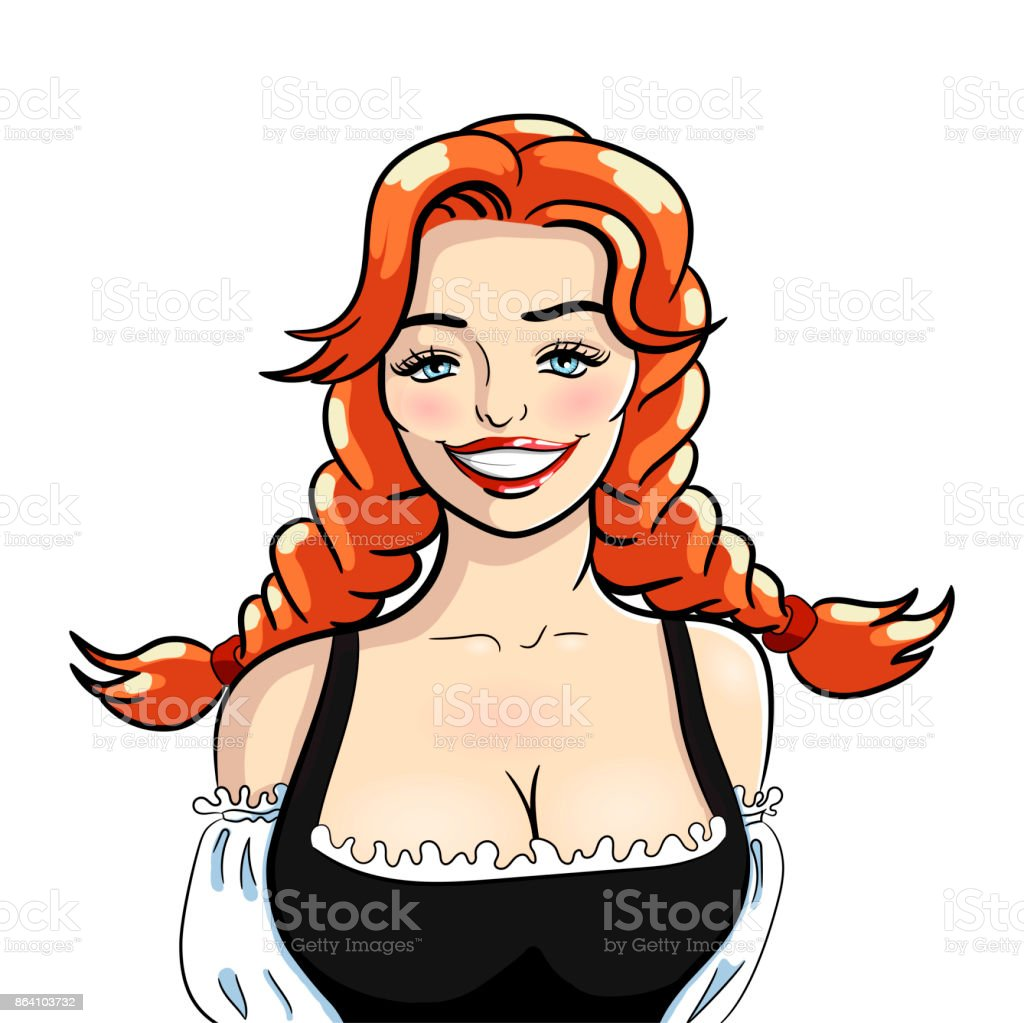 Vector illustration of attractive smiling waitress. Vector isolated illustration on a white background. royalty-free vector illustration of attractive smiling waitress vector isolated illustration on a white background stock vector art & more images of adult
