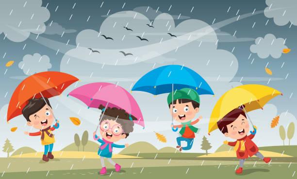 vector illustration of autumn season - kids playing in rain stock illustrations, clip art, cartoons, & icons