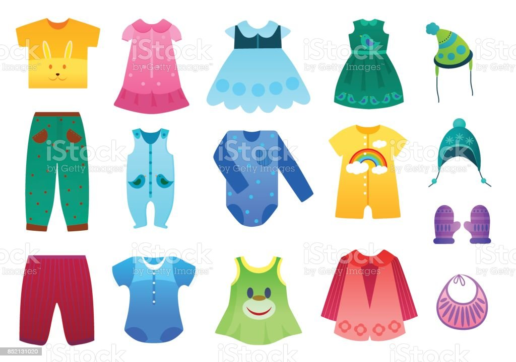 Vector illustration of baby and children kids clothes collection. Cartoon vector illustration. vector art illustration