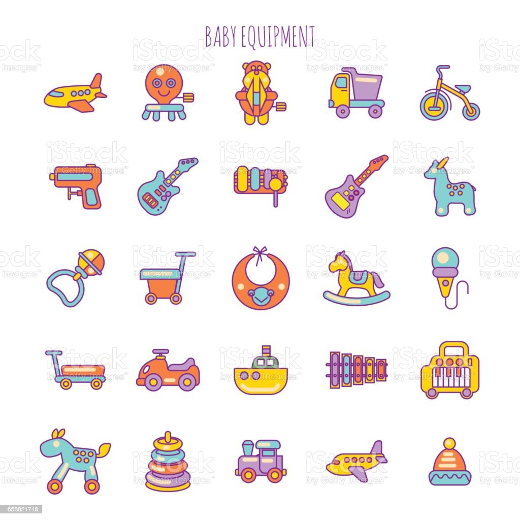 Vector Illustration Of Baby Care Items Baby Equipment And Toy Stock ...
