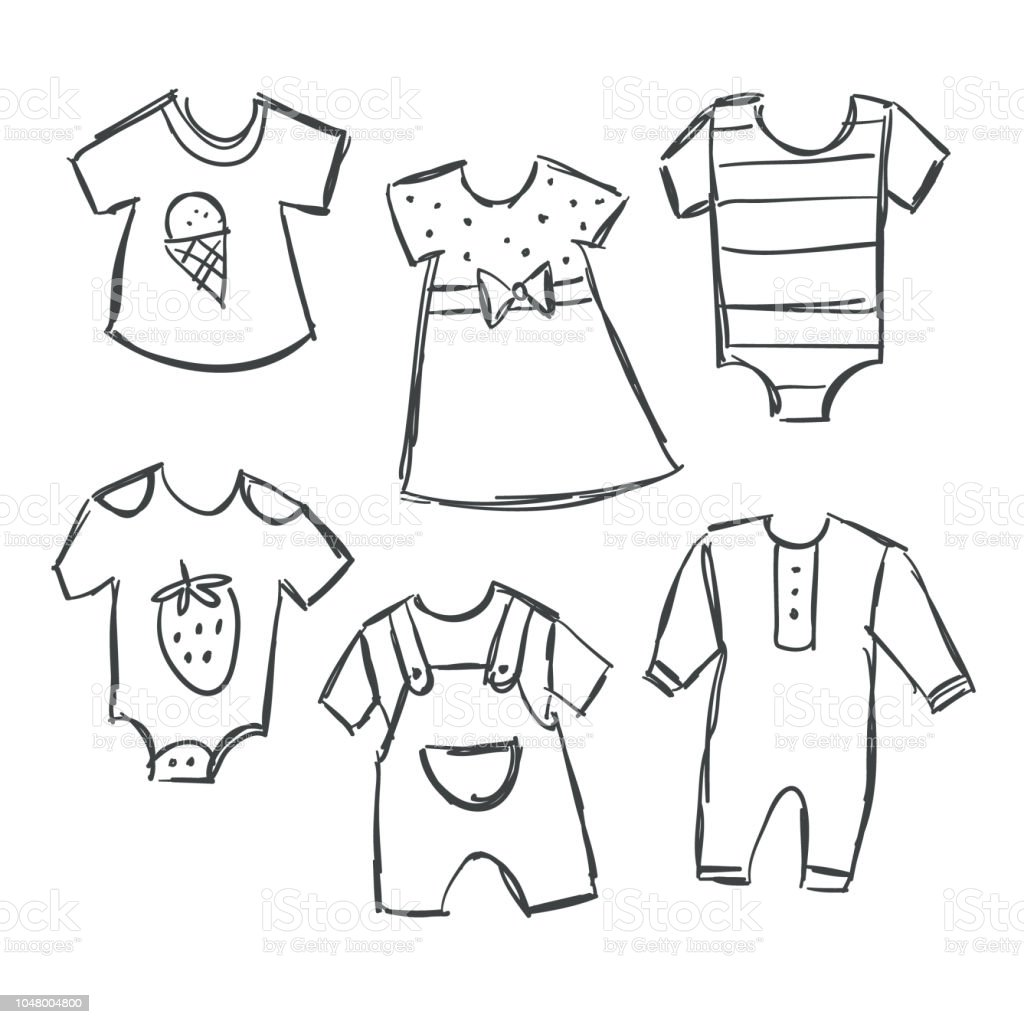 赤ちゃんの服のコレクションのベクトル イラスト Tシャツのベクター