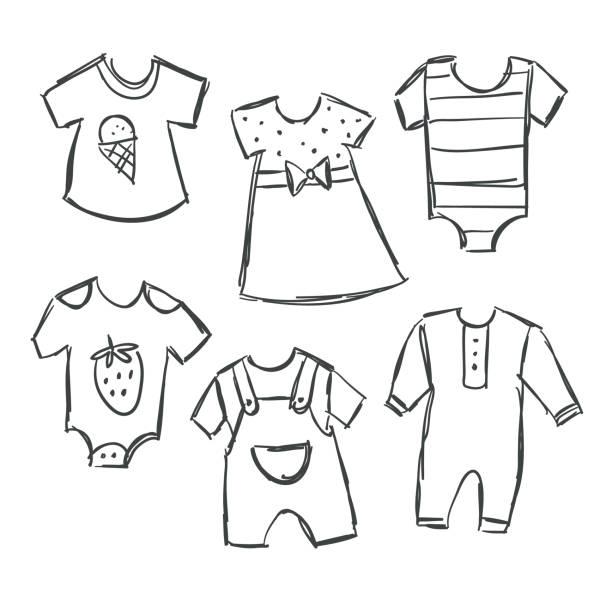 赤ちゃんの服のコレクションのベクトル イラスト - 花のボーダー点のイラスト素材/クリップアート素材/マンガ素材/アイコン素材