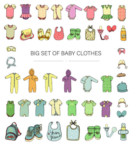 Vector illustration of baby clothes. Baby boy and girl clothes set. Children fashion set. Stylish clothes and accessories for kids isolated on white background baby clothing stock illustrations