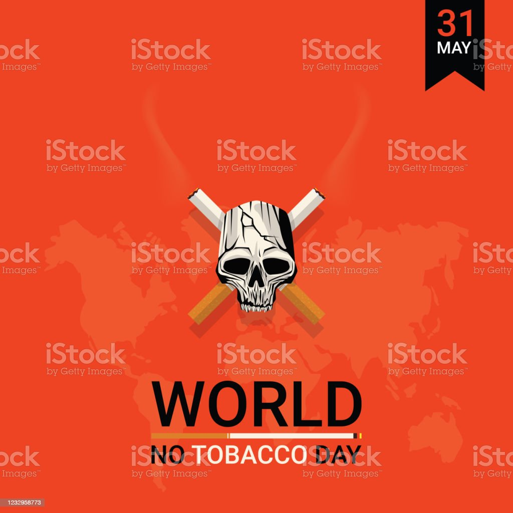 Vector Illustration Of Background Or Poster Or Banner For May 31 World No Tobacco Day Stop Smoking Concept Advertisement Design By Crossed Cigarettes And Skull Stock Illustration Download Image Now Istock