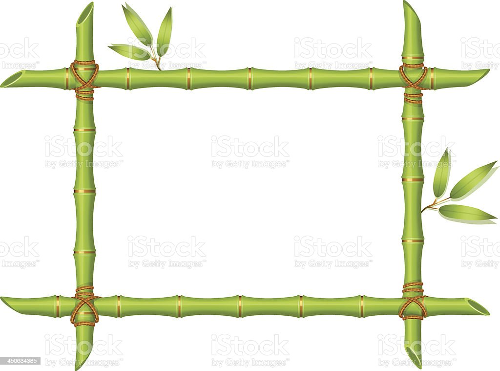 Vector illustration of Background with green bamboo frame vector art illustration