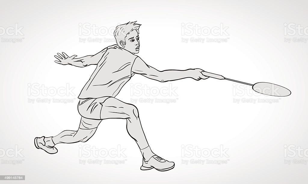 Vector illustration of Badminton player. Hand drawn. vector art illustration