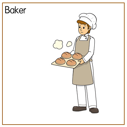 Vector illustration of baker isolated on white background. Jobs and occupations concept. Cartoon characters. Education and school kids coloring page, printable, activity, worksheet, flashcard.