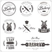 Set of bakery labels, badges and design elements.