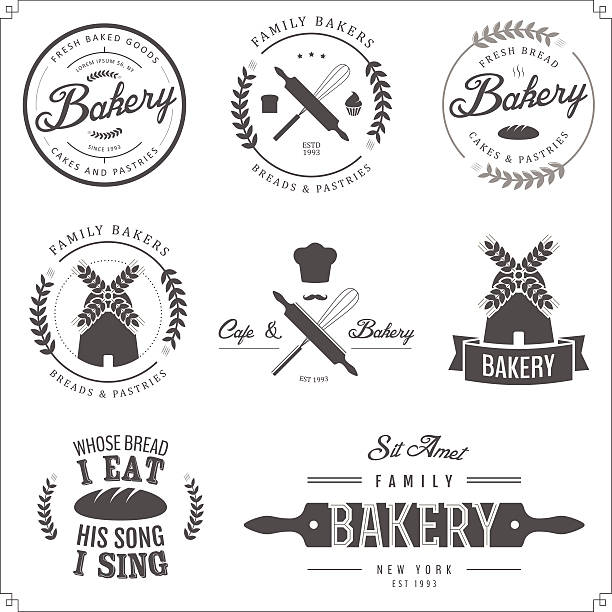 vector illustration of bakery labels - bakeries stock illustrations, clip art, cartoons, & icons