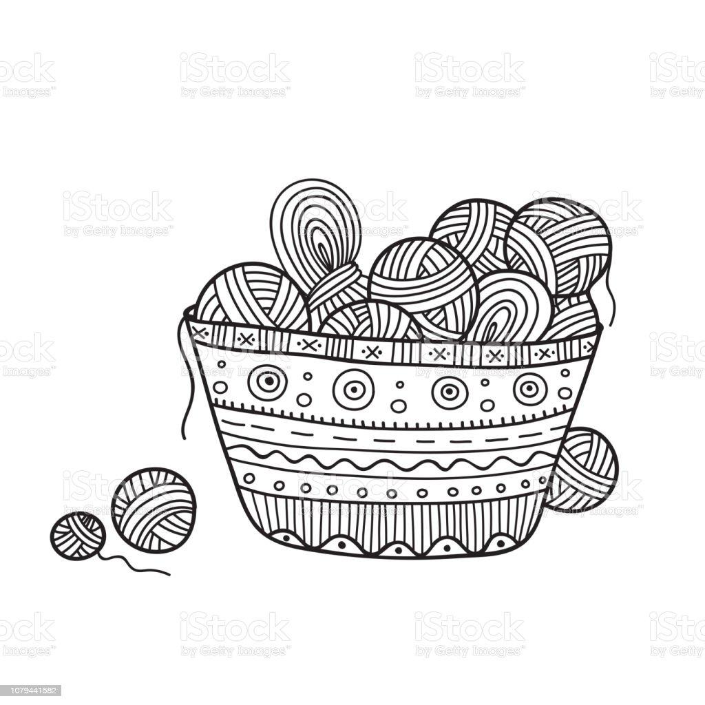 Vector Illustration Of Balls Of Yarn In Knitting Basket ...