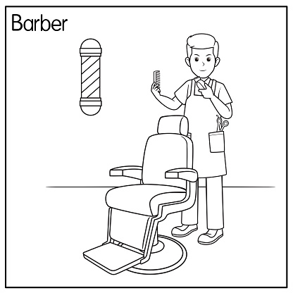 Vector illustration of barber isolated on white background. Jobs and occupations concept. Cartoon characters. Education and school kids coloring page, printable, activity, worksheet, flashcard.