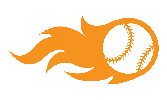 Vector illustration of baseball ball with fire flame graphics