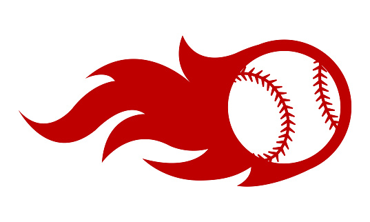 Vector illustration of baseball ball with simple flame shape