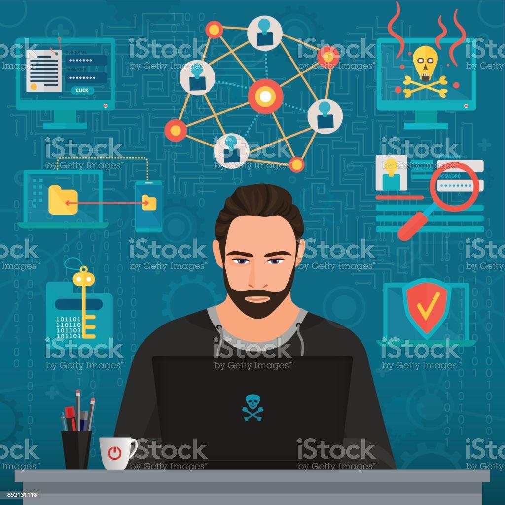 Vector illustration of bearded coder hacker thoughtful man thinking at table. vector art illustration