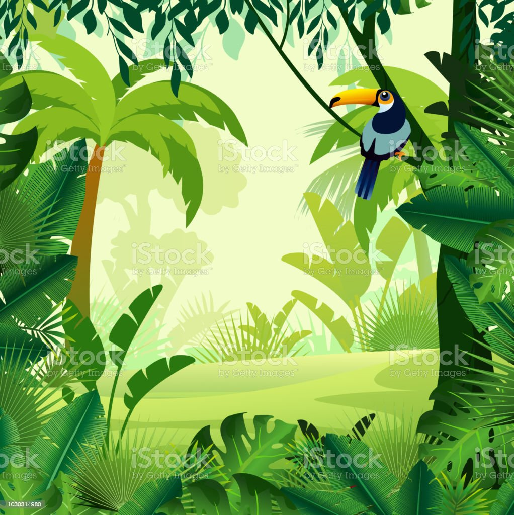 Vector illustration of beautiful background morning jungle. Bright jungle with ferns and flowers. For design game, websites and mobile phones, printing.