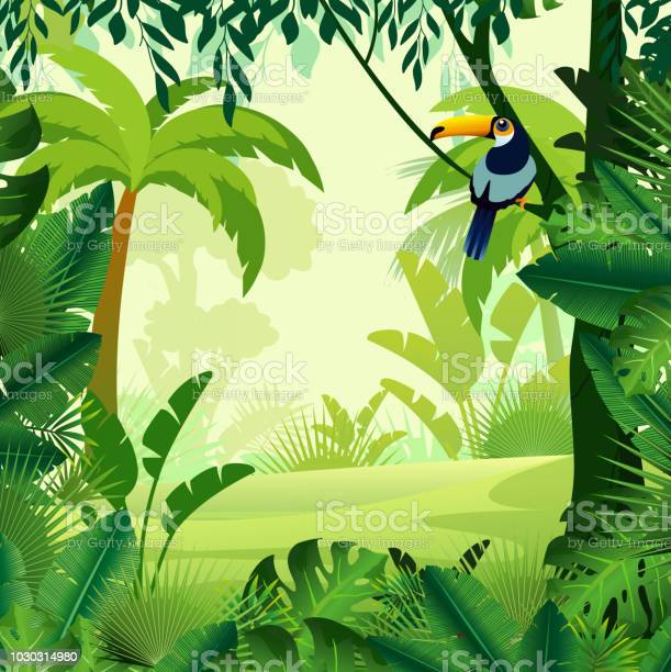 Vector Illustration Of Beautiful Background Morning Jungle Bright Jungle With Ferns And Flowers For Design Game Websites And Mobile Phones Printing — стоковая векторная графика и другие изображения на тему Векторная графика