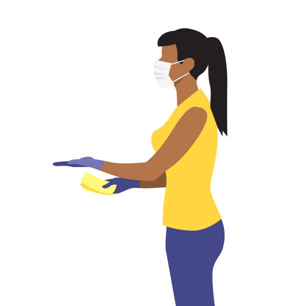 ilustrações de stock, clip art, desenhos animados e ícones de vector illustration of beautiful black woman in medical protective mask hold out hand with money and receive the delivery package. - afro latino mask
