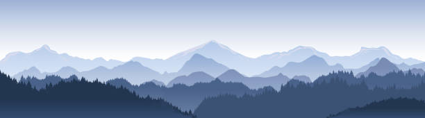 vector illustration of beautiful dark blue mountain landscape with fog and forest. sunrise and sunset in mountains. - панорамный stock illustrations