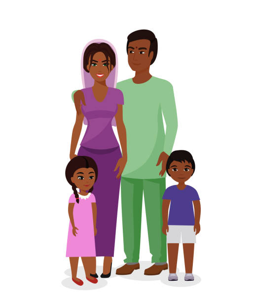 Vector illustration of beautiful Indian family. Happy Indian man and woman with boy and girl kids in traditional national clothes. Mother, father and children together in flat cartoon style. Vector illustration of beautiful Indian family. Happy Indian man and woman with boy and girl kids in traditional national clothes. Mother, father and children together in flat cartoon style indian family stock illustrations