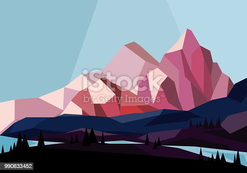 Vector illustration of beautiful mountains landscape in geometric style in pink and blue colors, flat design