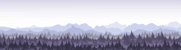 Vector illustration of beautiful panoramic view blue mountains in the fog with pine forest. Vector illustration of beautiful panoramic view blue mountains in the fog with pine forest mountains in mist stock illustrations