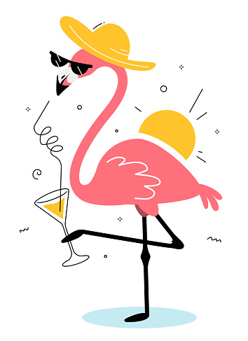 Vector illustration of beautiful pink flamingo in sun hat and sunglasses drinking cocktail and standing on one leg on white background with sun.