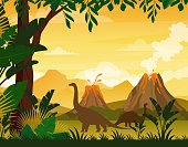Vector illustration of beautiful prehistoric landscape and dinosaurs. Tropical trees and plants, mountains with volcano in flat cartoon style