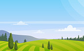 Vector illustration of beautiful rural landscape with trees on the field, colorful summer countryside landscape in flat style