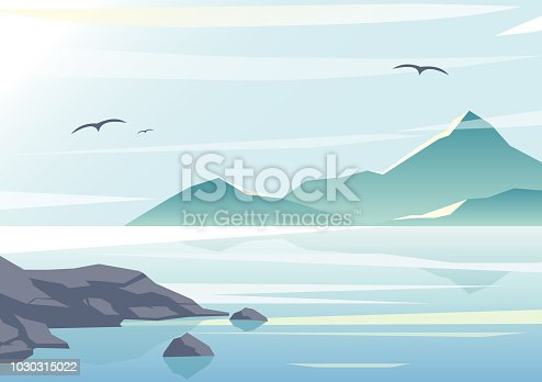 Vector illustration of beautiful sea view, water of the ocean, rocks on the beach, mountains and sky background in pastel colors and flat design