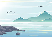 Vector illustration of beautiful sea view, water of the ocean, rocks on the beach, mountains and sky background in pastel colors and flat design.