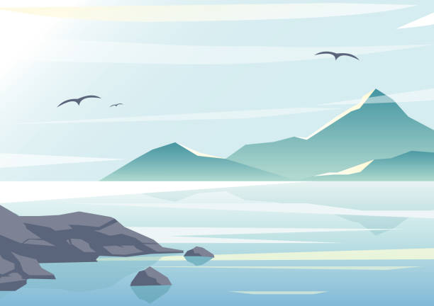 Vector illustration of beautiful sea view, water of the ocean, rocks on the beach, mountains and sky background in pastel colors and flat design. Vector illustration of beautiful sea view, water of the ocean, rocks on the beach, mountains and sky background in pastel colors and flat design coastal feature stock illustrations
