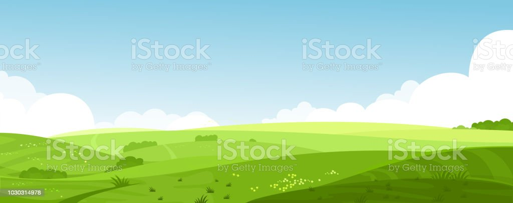 Vector illustration of beautiful summer fields landscape with a dawn, green hills, bright color blue sky, country background in flat cartoon style banner. - Grafika wektorowa royalty-free (Bez ludzi)