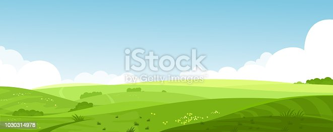 Vector illustration of beautiful summer fields landscape with a dawn, green hills, bright color blue sky, country background in flat cartoon style banner