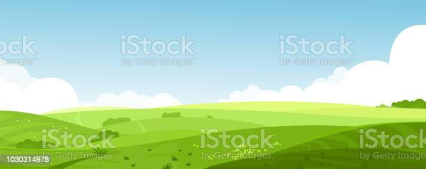 Vector Illustration Of Beautiful Summer Fields Landscape With A Dawn Green Hills Bright Color Blue Sky Country Background In Flat Cartoon Style Banner - Arte vetorial de stock e mais imagens de Agricultura