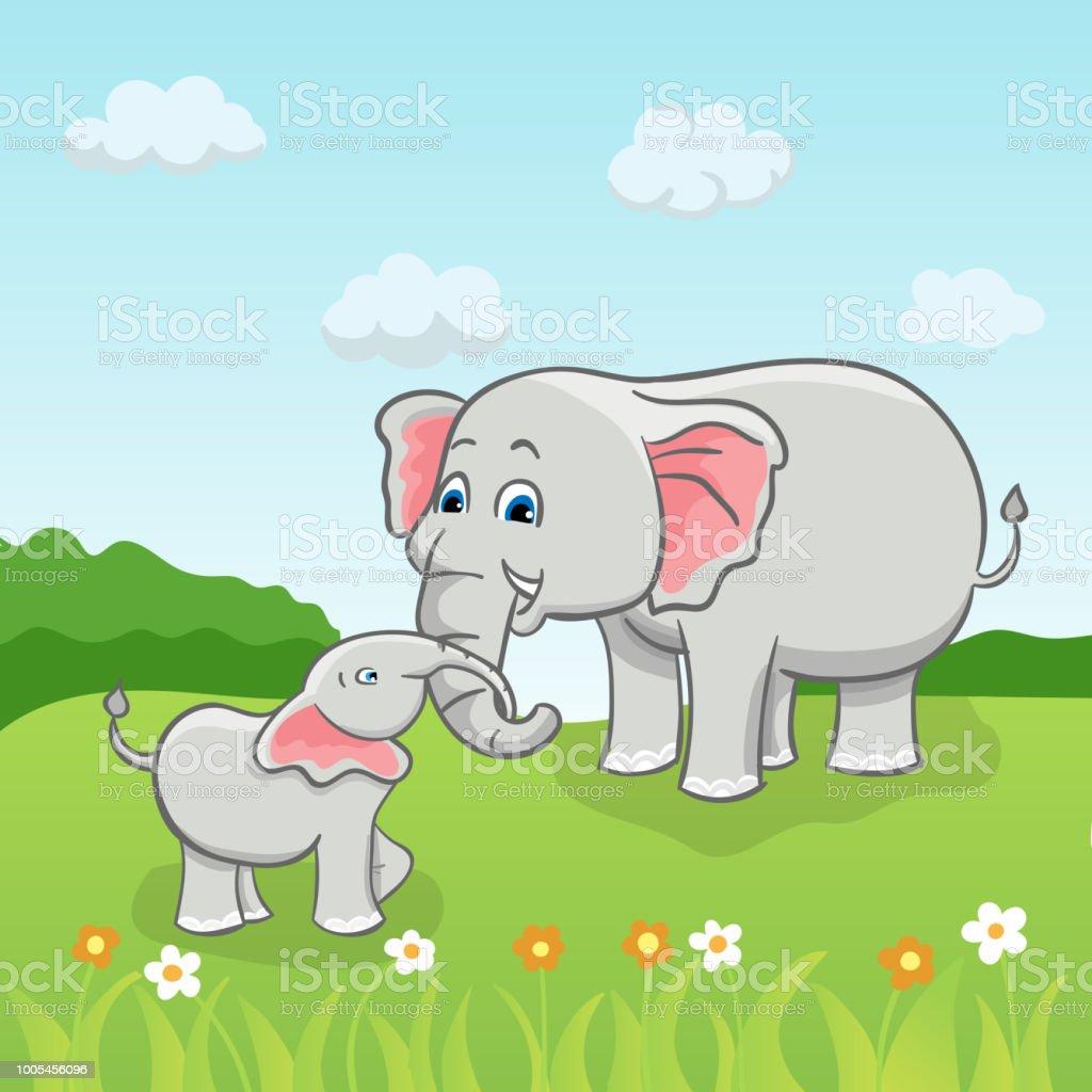 Betere Vektorillustration Von Schönen Zwei Elefanten Auf Dem KL-05