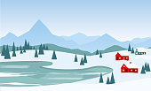 Vector illustration of beautiful winter landscape with red houses on the mountains background and lake in flat cartoon style