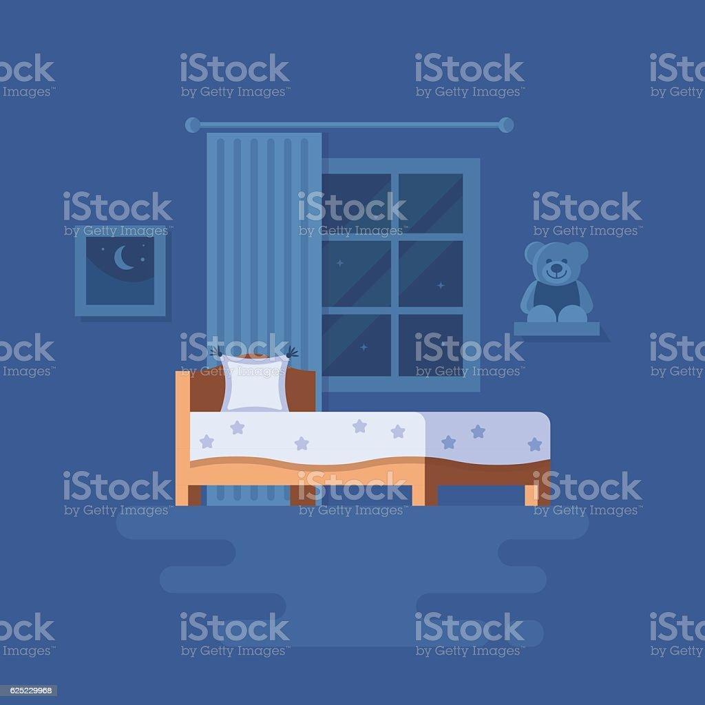 Vector illustration of bedroom interior. vector art illustration