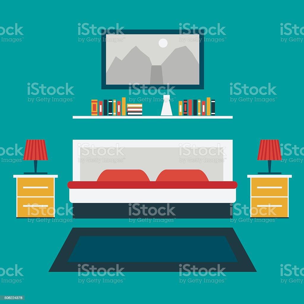 Vector illustration of bedroom vector art illustration