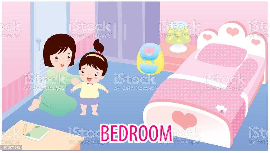 Vektor-Illustration des Schlafzimmers - Lizenzfrei Bett Vektorgrafik