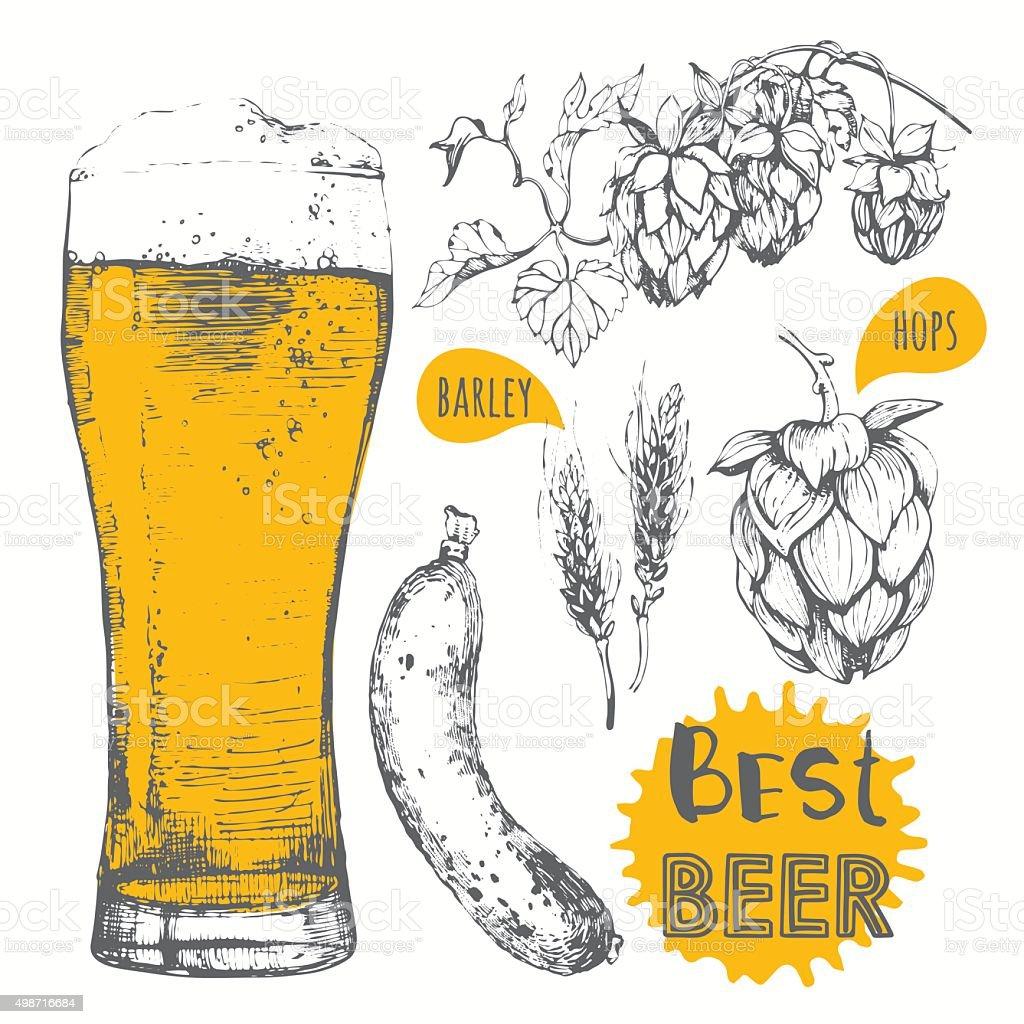 Vector illustration of beer and sausages. Pub menu. vector art illustration