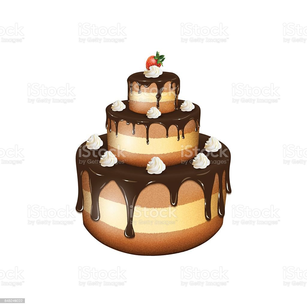 Vector illustration of big chocolate cake with cream and strawbe векторная иллюстрация