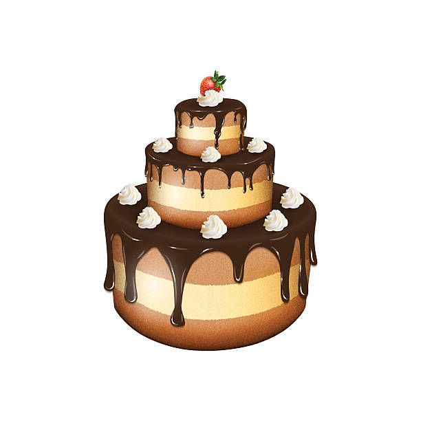 Bекторная иллюстрация Vector illustration of big chocolate cake with cream and strawbe