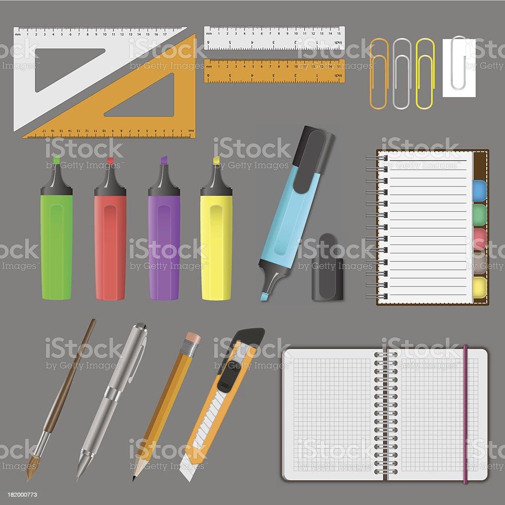 Vector illustration of big office set royalty-free stock vector art