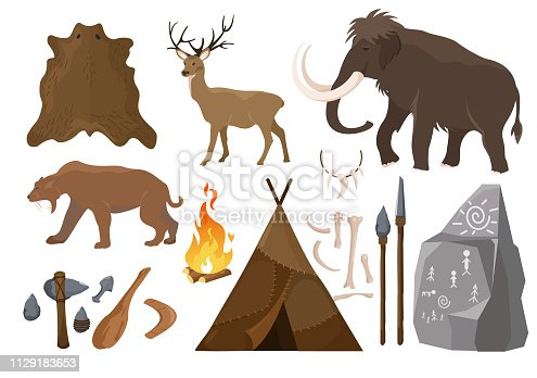 Vector illustration of big set of elements of stone age attributes. Primitive ice age elements. Stone age. Hunting tools, mammoth, wigwam and animals bones and skin for anicent time concept in flat cartoon design