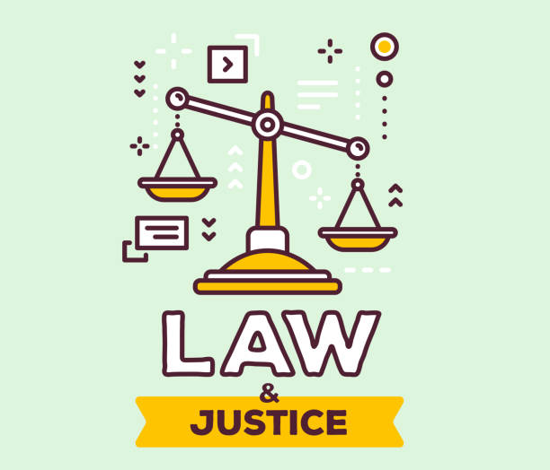 Vector illustration of big yellow  justice scales with icons. Law and justice concept on green background with title. Vector illustration of big yellow  justice scales with icons. Law and justice concept on green background with title. Thin line art design for web, site, banner, poster, business presentation supreme court stock illustrations